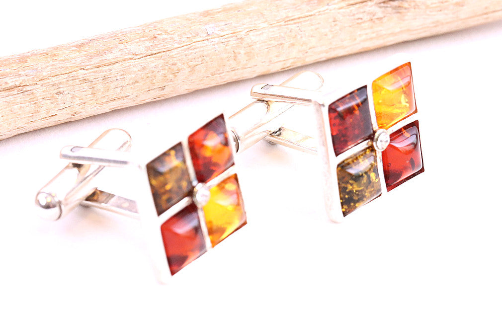 Colorful Amber Gemstone and Silver Cufflinks