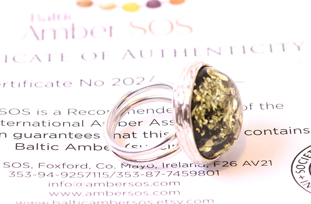 Green Amber Ring - Perfect  Gift