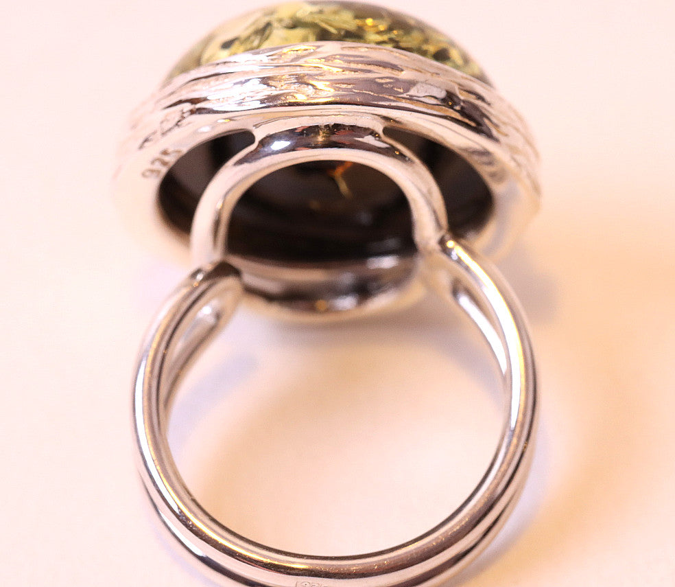Green Amber Ring - Perfect Christmas Gift
