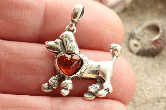 Poodle with a Heart of Gold Pendant - Amber SOS
