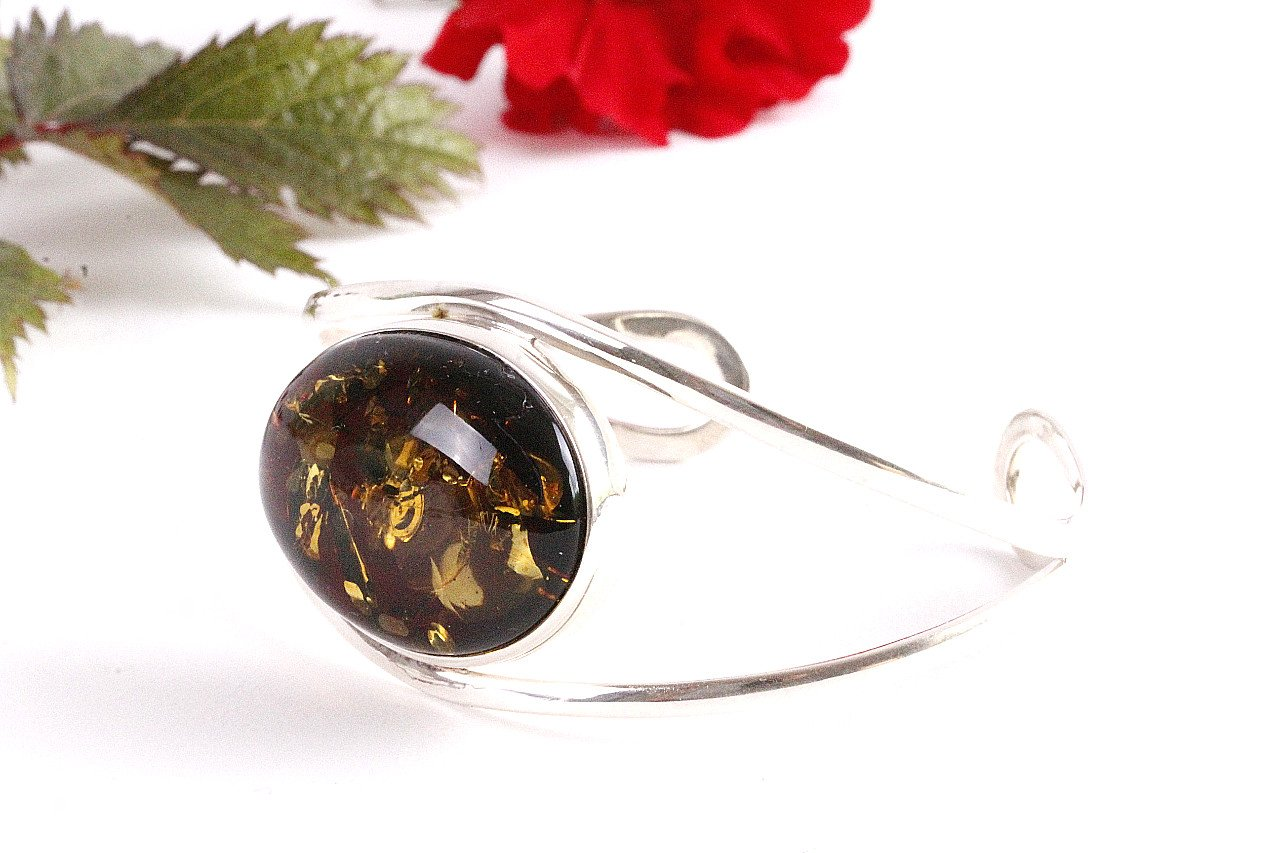 Green and Silver Amber Bangle - Amber SOS