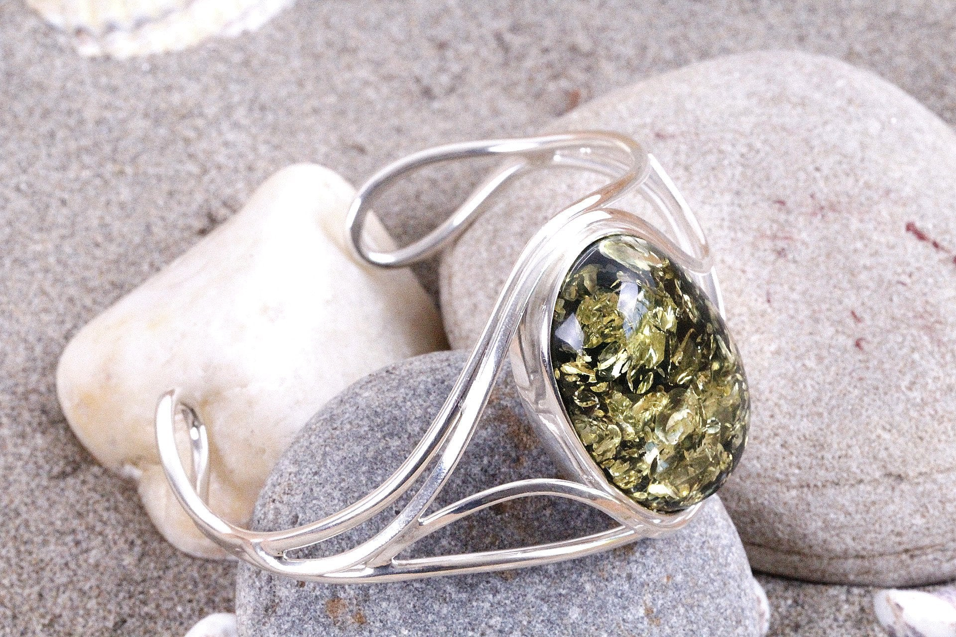 Handmade Green and Silver Amber Bracelet - Amber SOS
