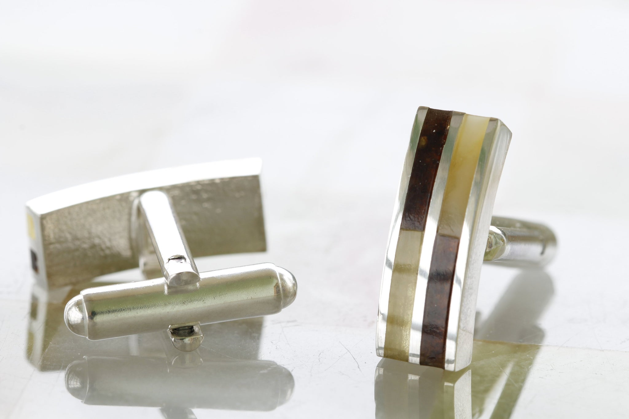 Sleek Minimalist Baltic Amber and Silver Cufflinks - Amber SOS