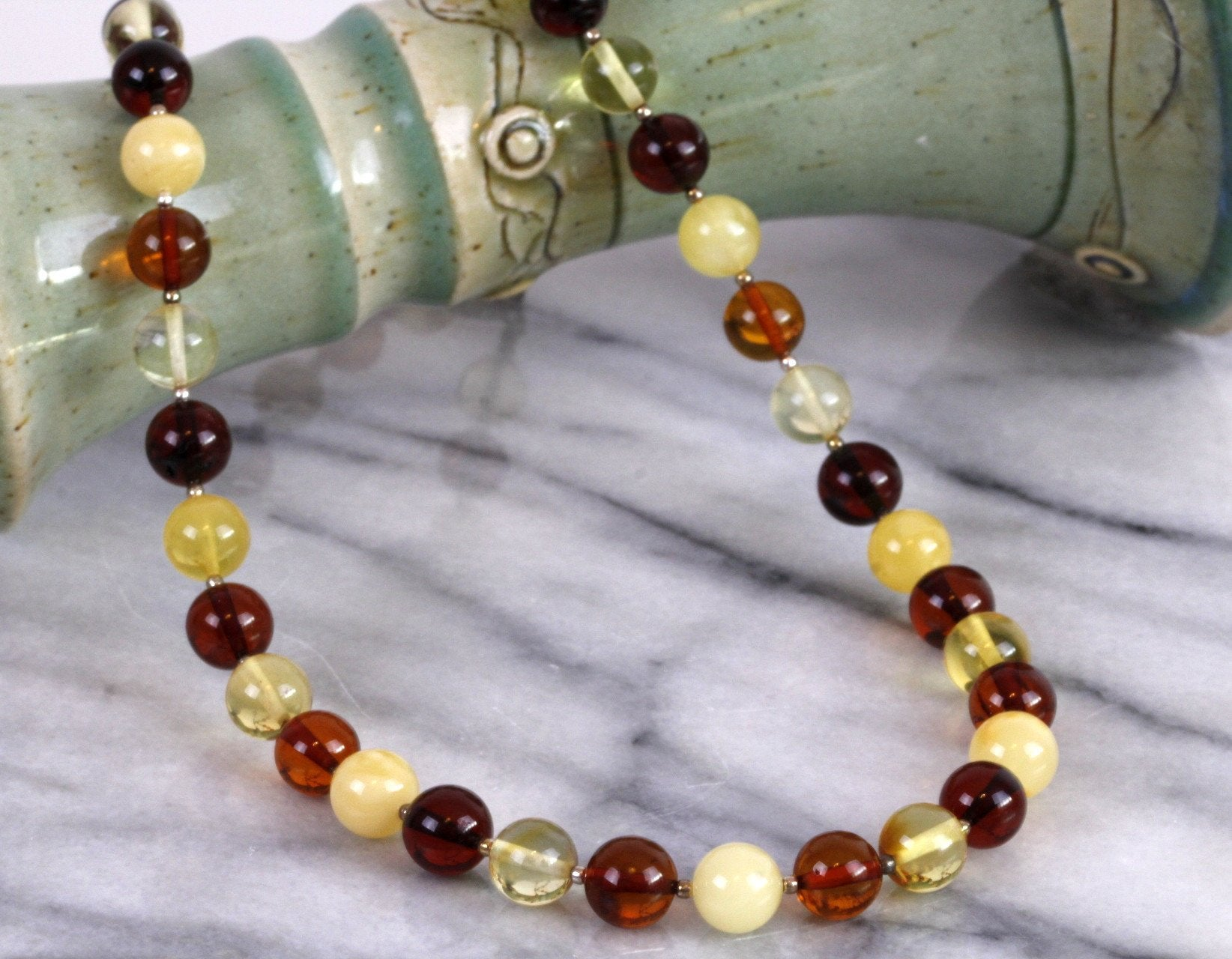 Silver and Quality Amber Necklace - Amber SOS