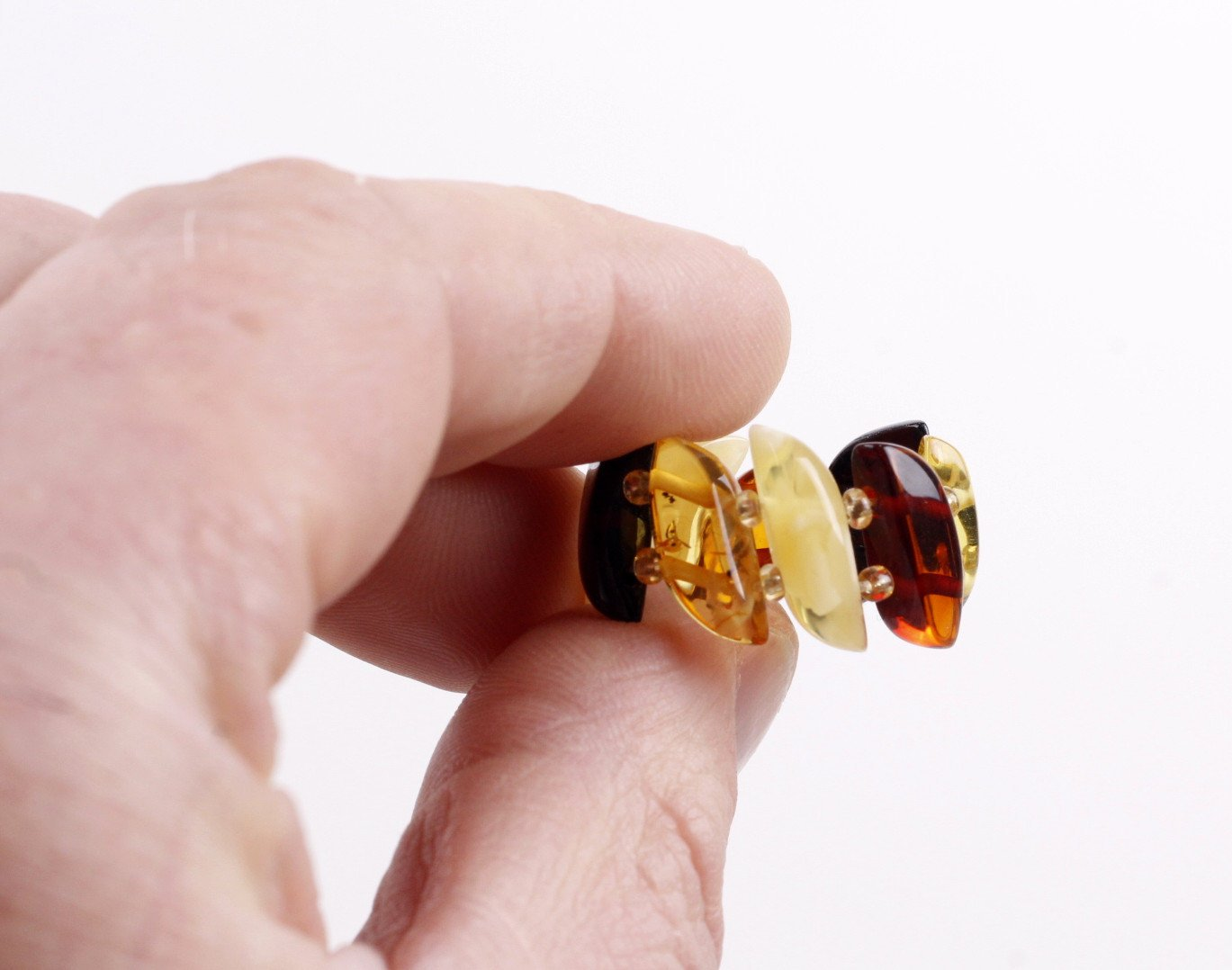 Elastic Ring, Baltic Amber Ring, Natural Amber Ring, Gemstone Ring, Expandable,Stretch Flexible Ring, Thumb Ring, Ring for Pain Relief - Amber SOS