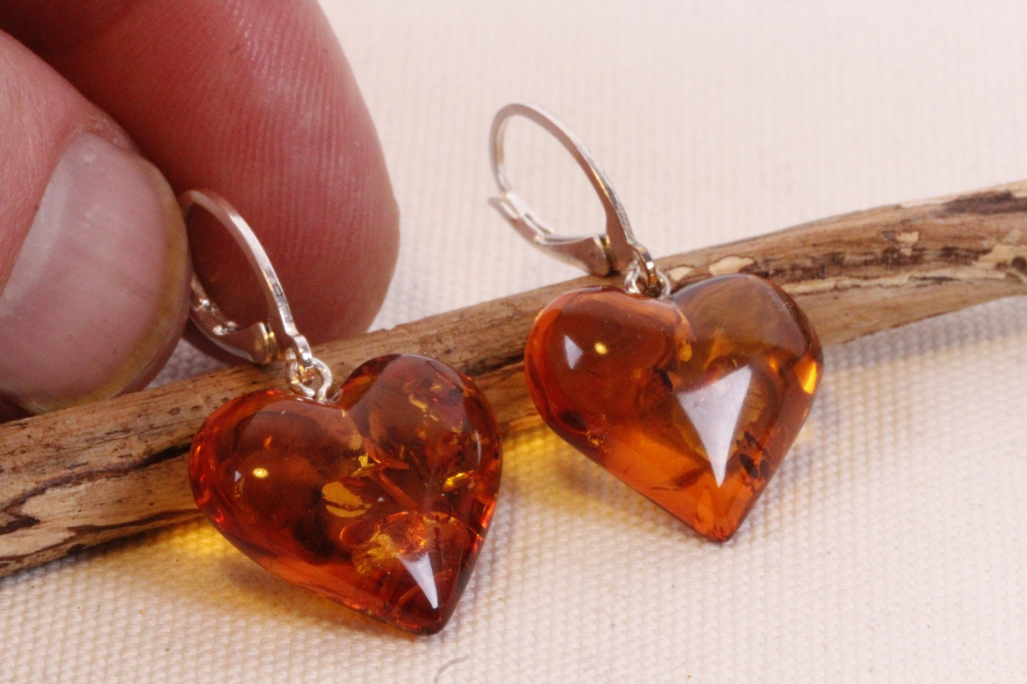 Gemstone Heart Amber Earrings - Amber SOS