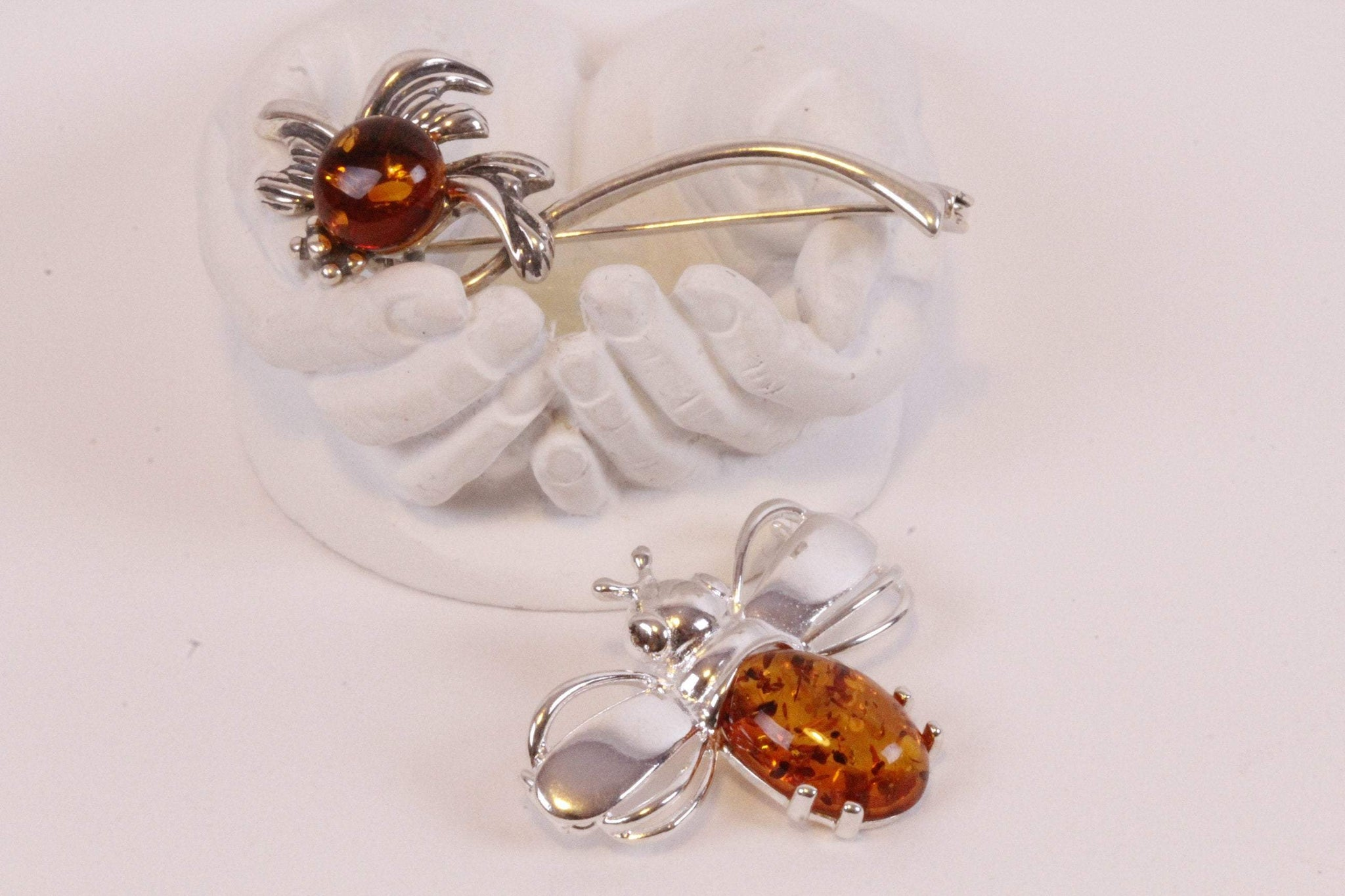 Pair of Baltic Amber Brooch Pins - Amber SOS