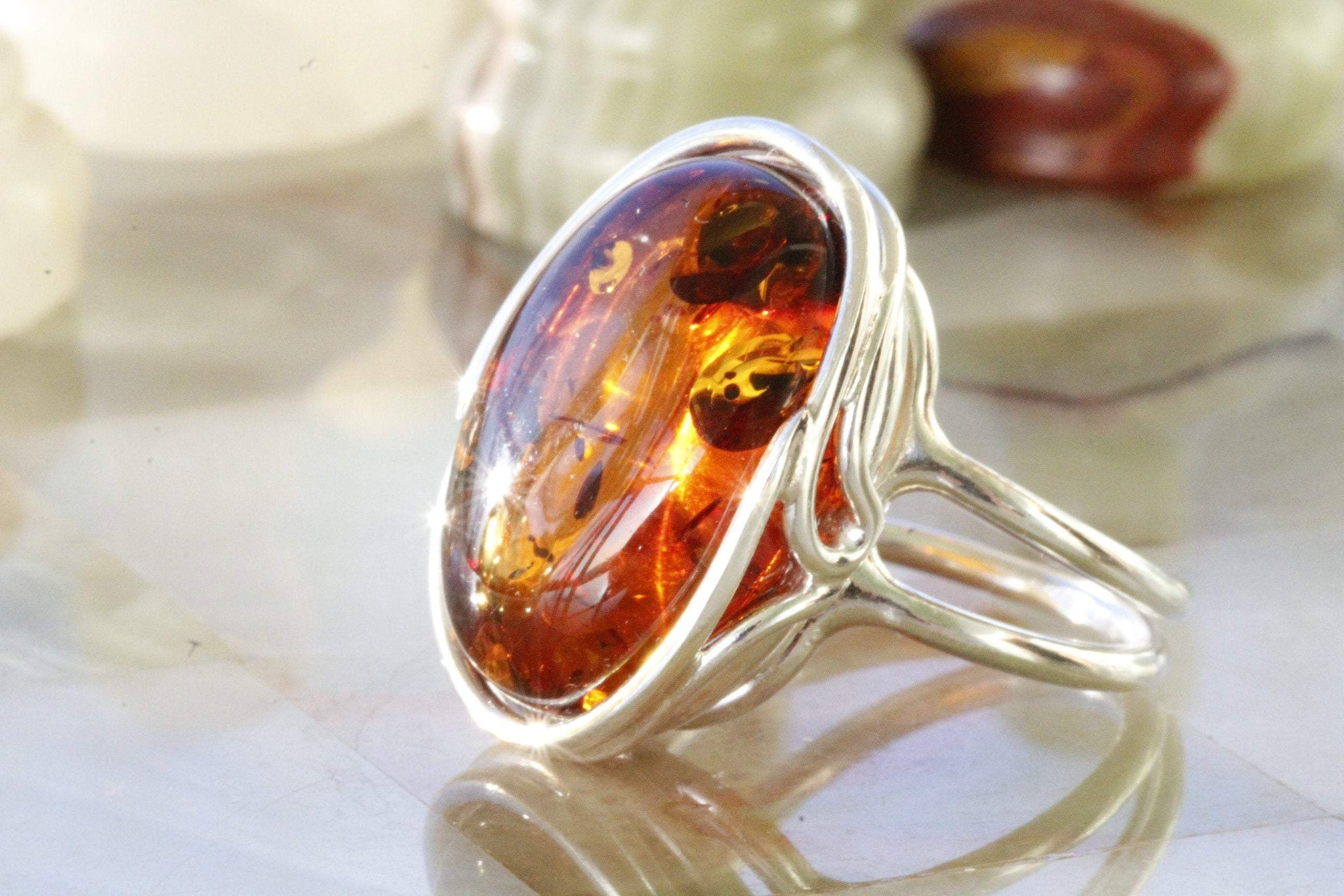 Large Unique Amber Ring - Amber SOS
