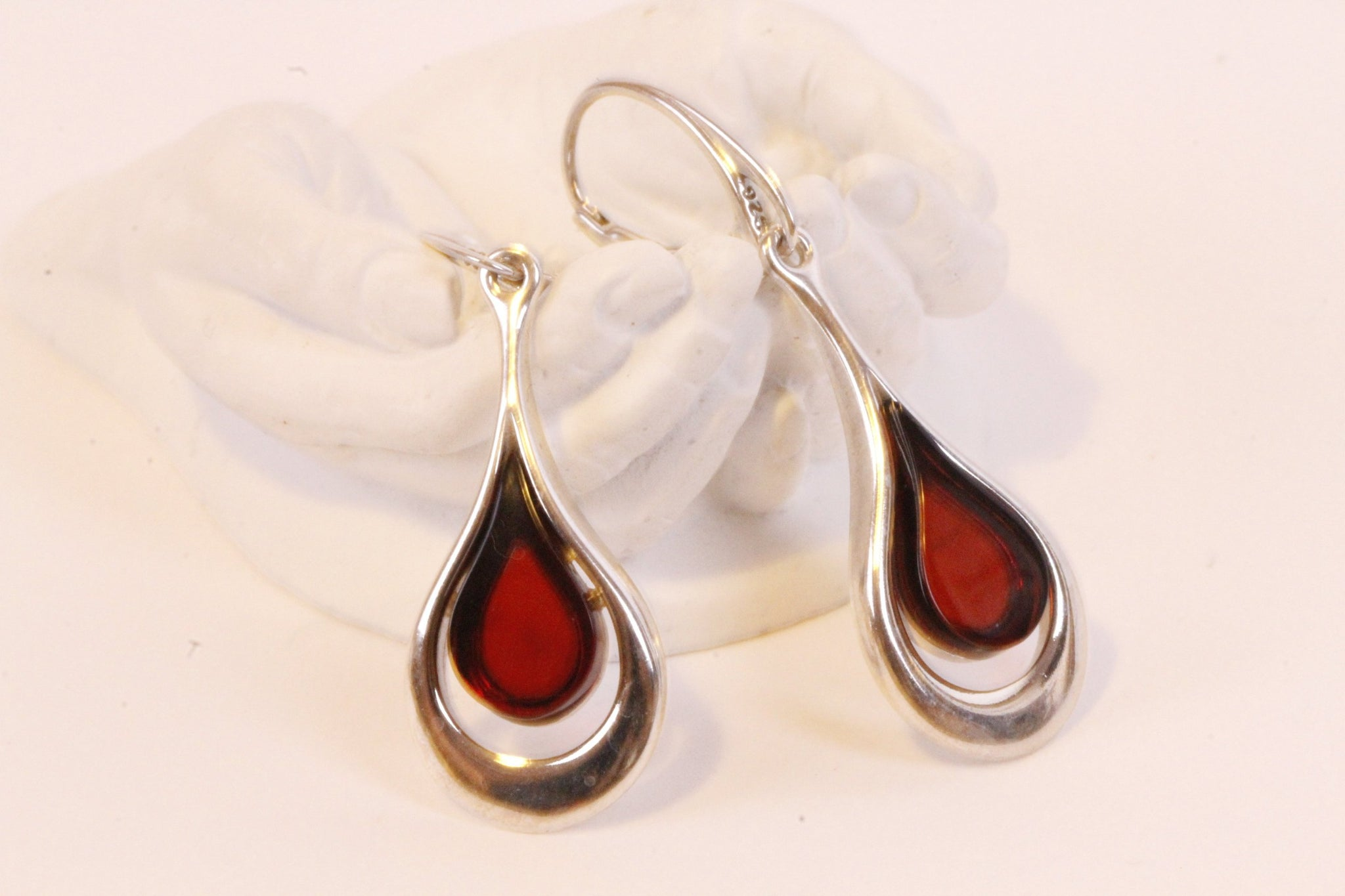 Silver and Red Amber Earrings - Amber SOS