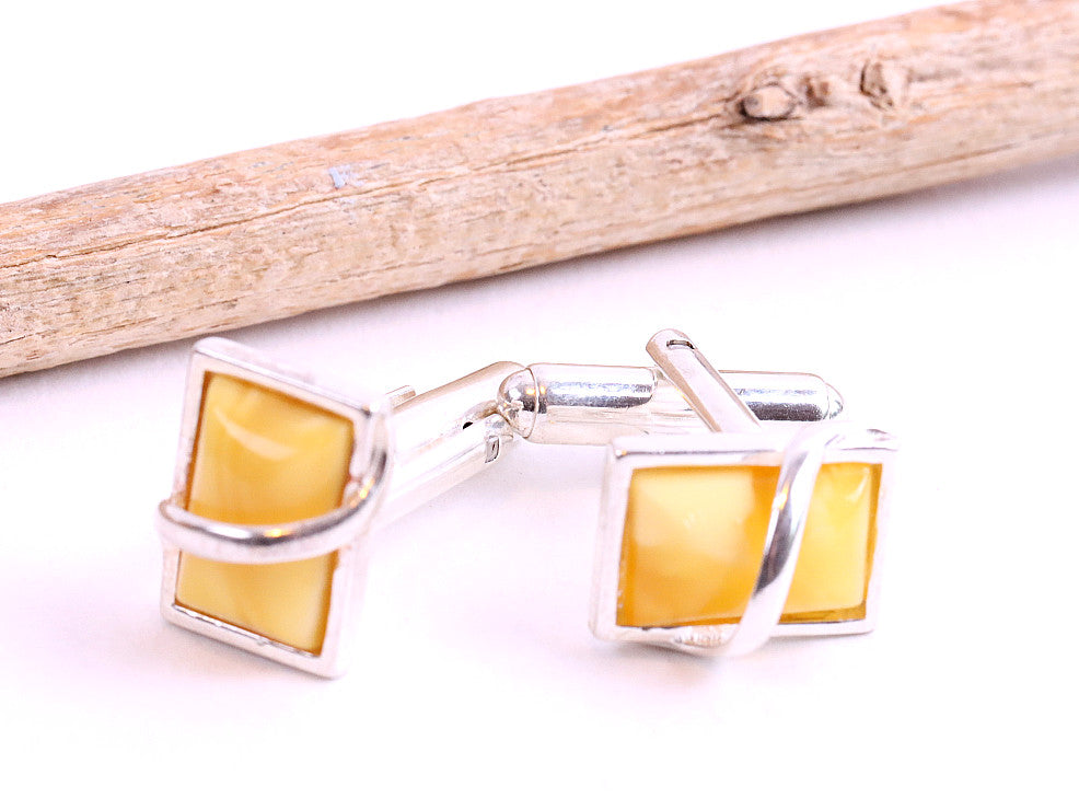 White Amber and Silver Cufflinks