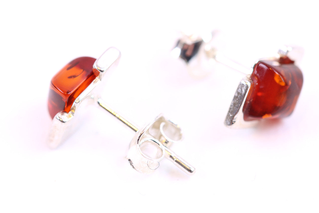 Tidy Diamond Shape Amber Stud Earrings