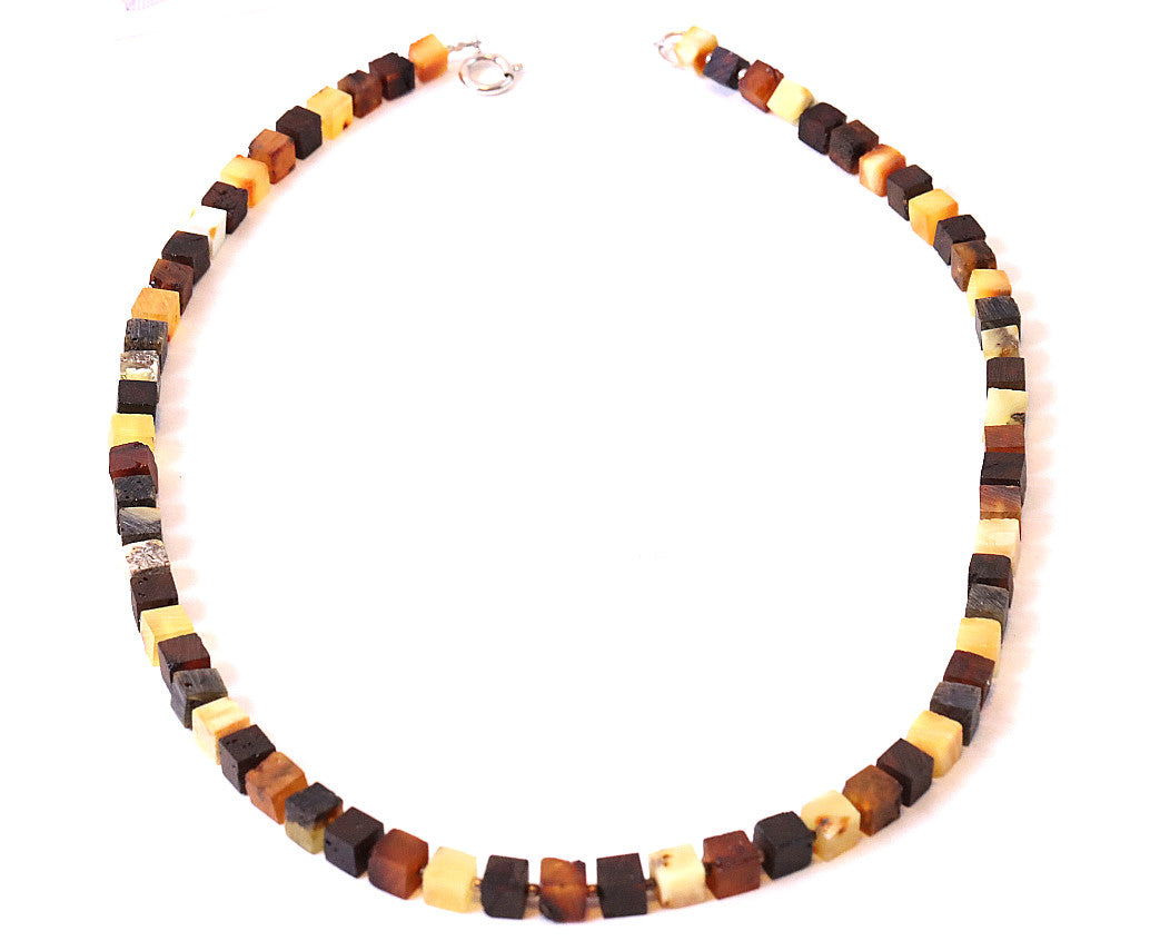 Matte Finish Faceted Amber Necklace