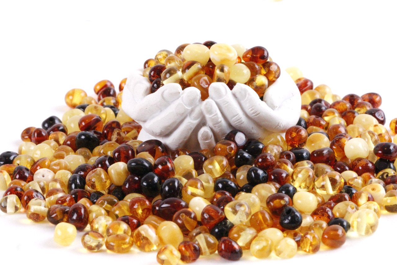 Bean shape drilled beads for Crafting (8mm X 5mm approx) Approx 80 beads - Amber SOS