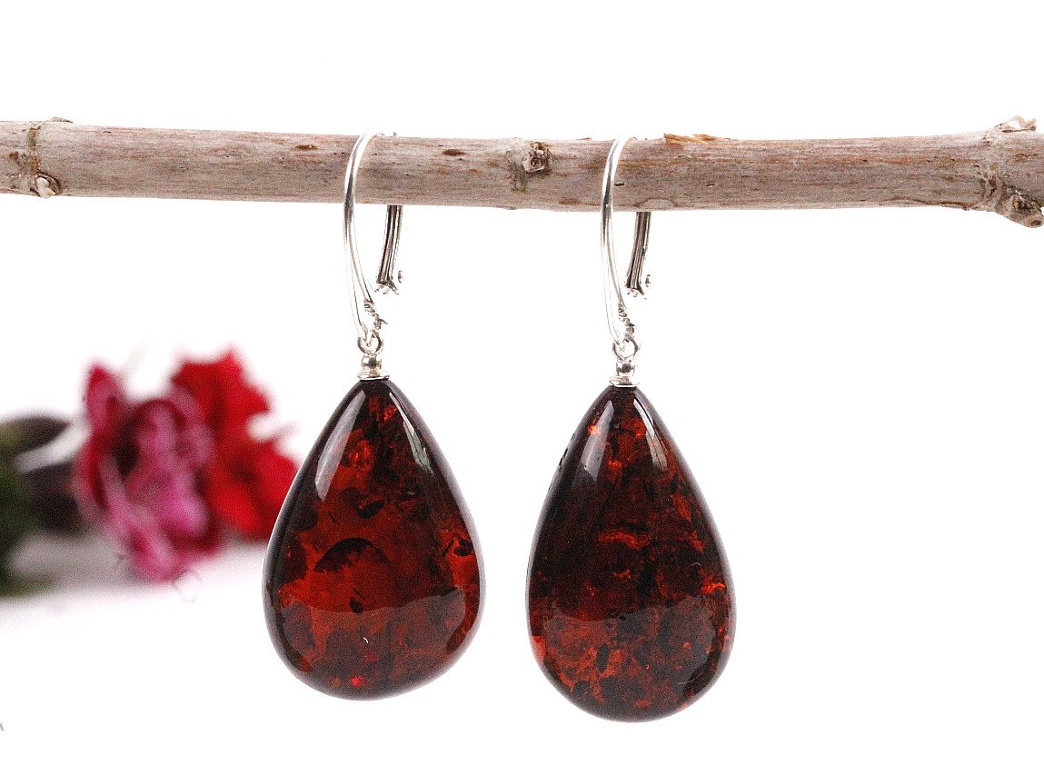 Large Cherry Amber Drop Earrings - Amber SOS