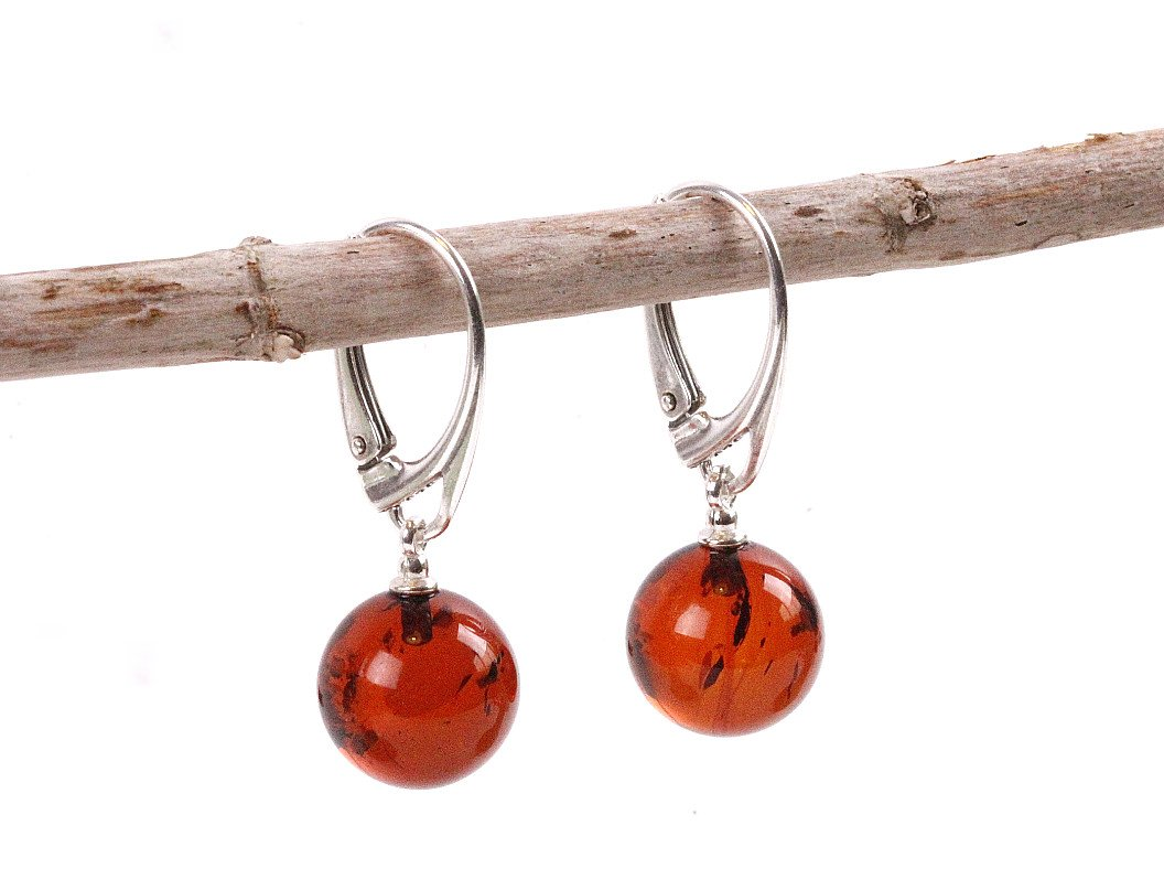 Honey Sphere Drop Earrings - Amber SOS
