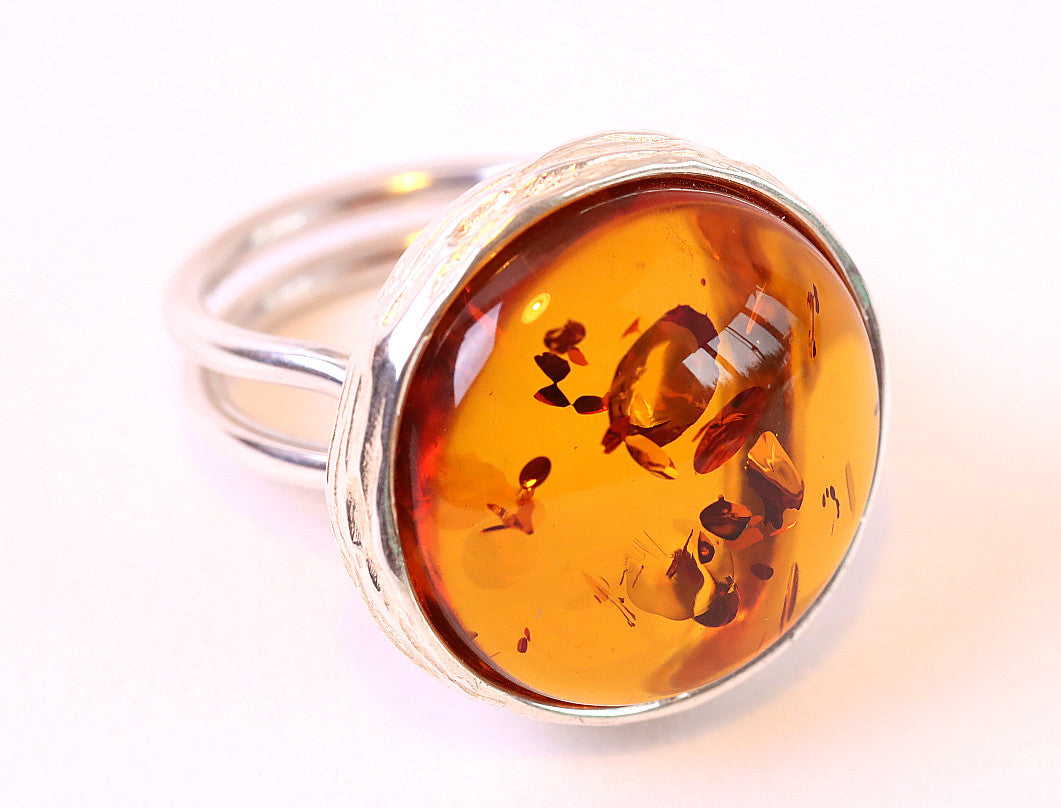 Amber Gemstone and Silver Ring