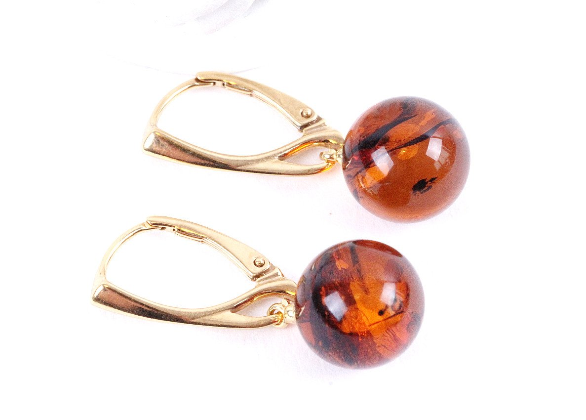 Gold Sphere Drop Earrings - Amber SOS