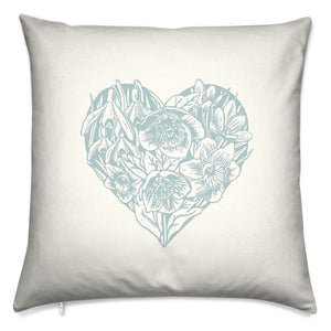 "Spring Heart Cushion- Blue 16"" Square"