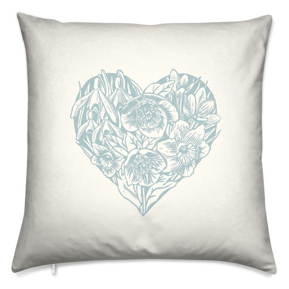 Spring Heart Cushion- Blue 16