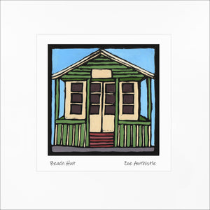 'Beach Hut' Limited Edition Original Linocut