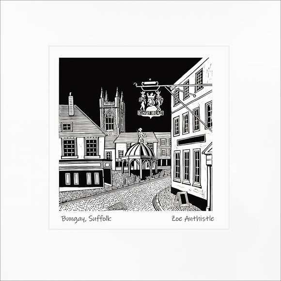A print of my original handprinted linocut 'Bungay'.