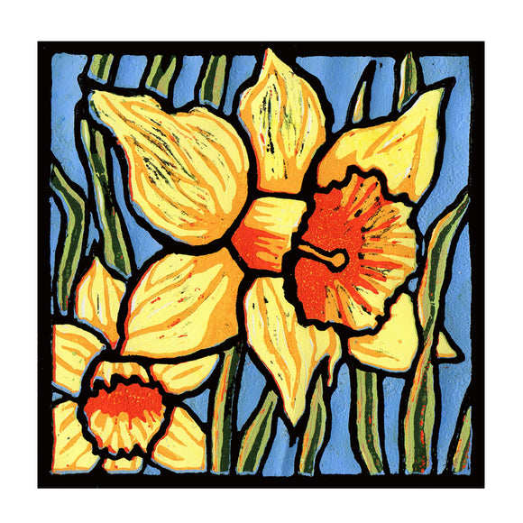 A print of my original handprinted linocut 'Daffodils'.