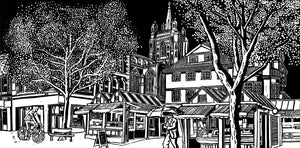'Gentleman's Walk, Norwich' Limited Edition Original Linocut