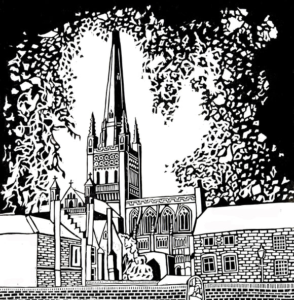 'Norwich Cathedral' Limited Edition Original Linocut