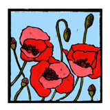 A print of my original handprinted linocut 'Poppies'.