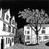 A print of my original handprinted linocut 'Elm Hill, Norwich'.