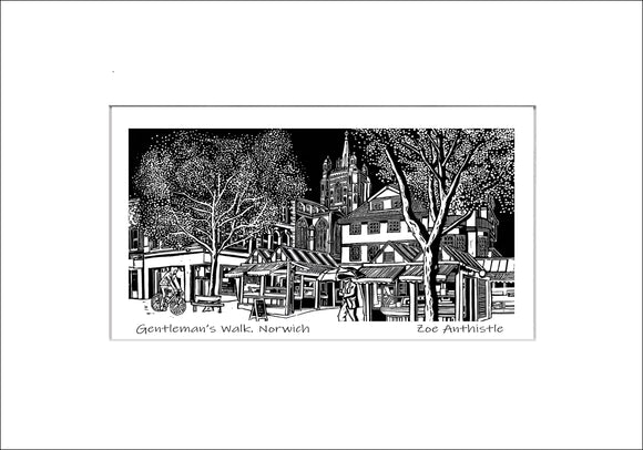 A print of my original handprinted linocut 'Gentleman's Walk, Norwich'.