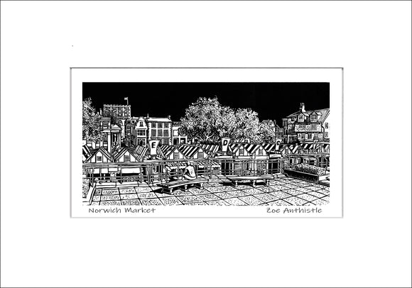 A print of my original handprinted linocut 'Norwich Market'.