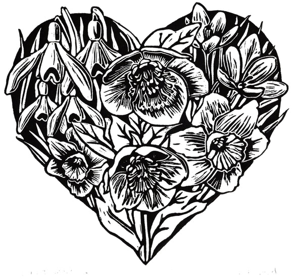 'Spring Heart' Limited Edition Original Linocut