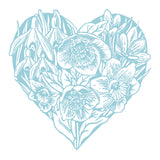 A print of my original handprinted linocut 'Spring Heart' in blue.