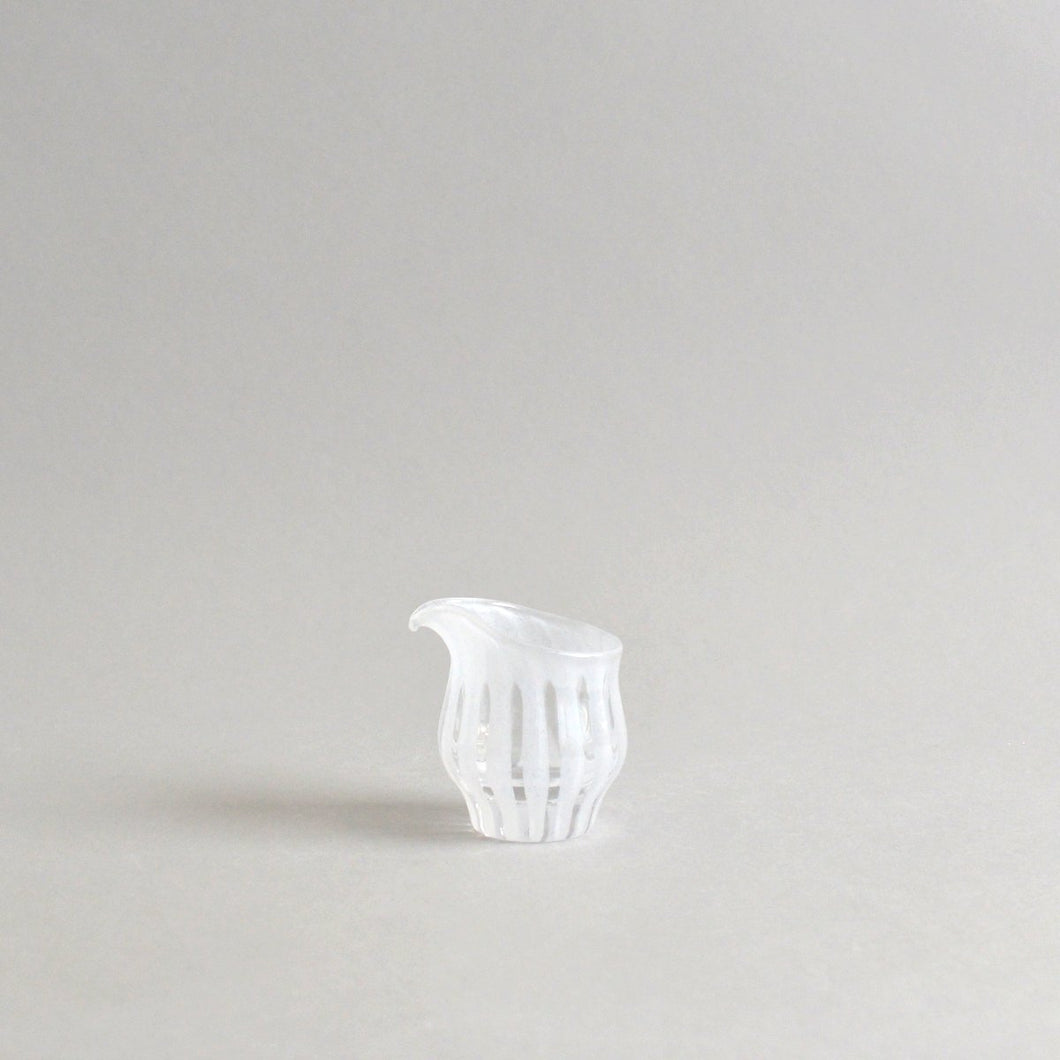 ren;Milk pitcher #03 (white) ; HiroyGlassStudio