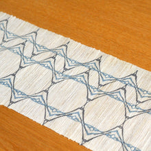 Load image into Gallery viewer, Linen table runner(wave;light blue~gray) ; Yuiko Kamiyama