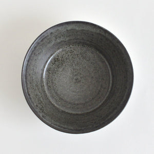 Trapezoid Shinogi Bowl (Blue black) ; Koji Kitaoka