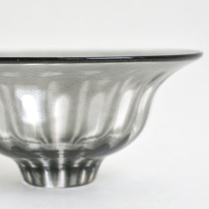 ren;Wide rim bowl (clear gray) ; Hiroy Glass Studio