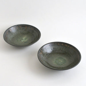 Shallow bowls 6.5in (Blue Black,02) ; Koji Kitaoka