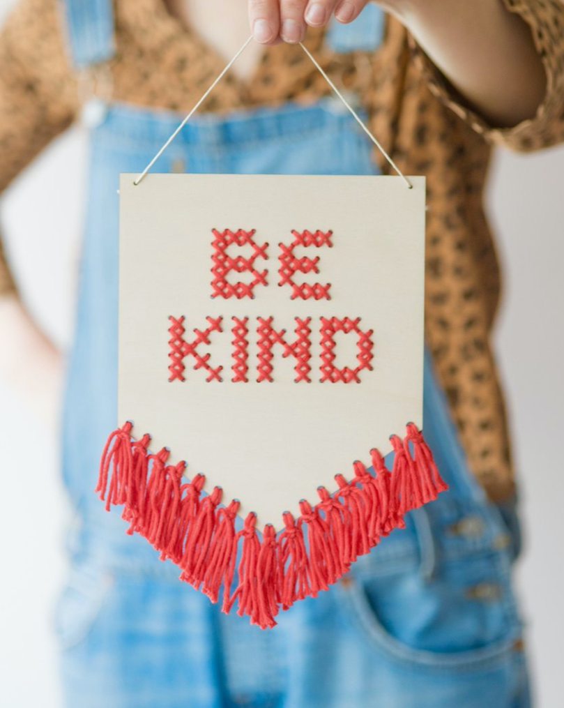 Be Kind Tasseled Embroidery Board Kit - Ellie & Becks Co.