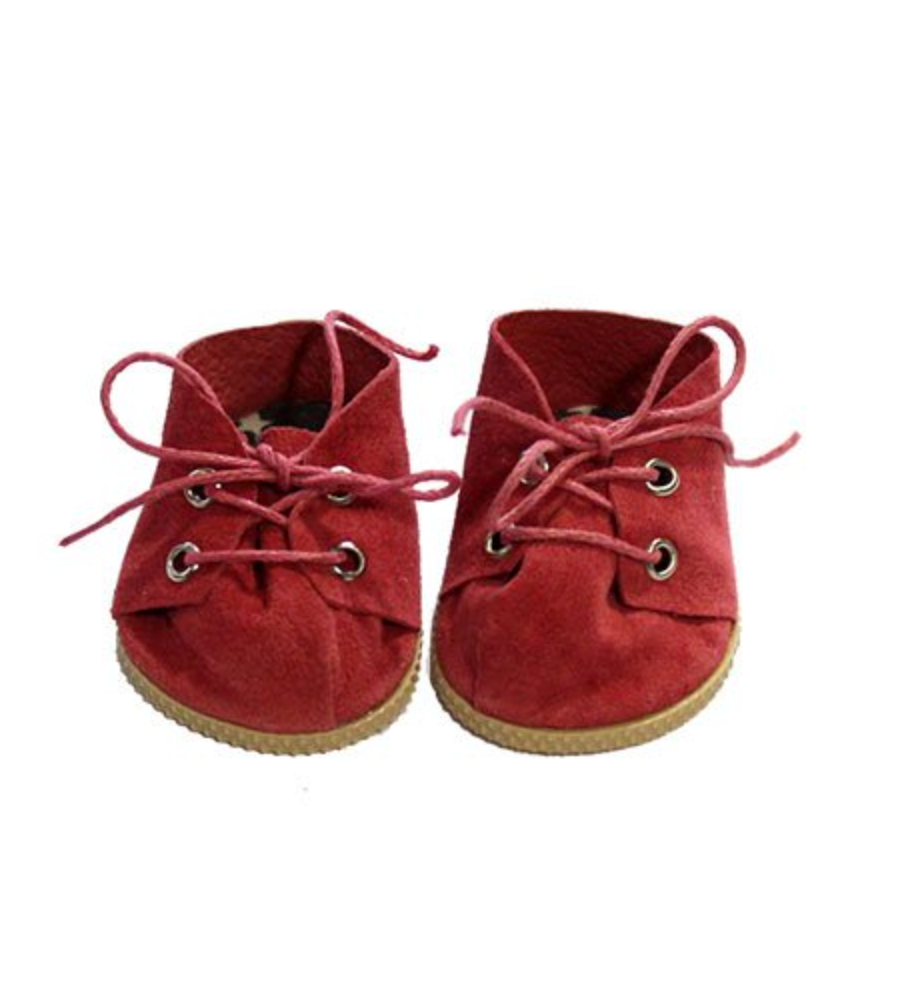 Doll Suede Lace-Up Shoes Red - Ellie & Becks Co.