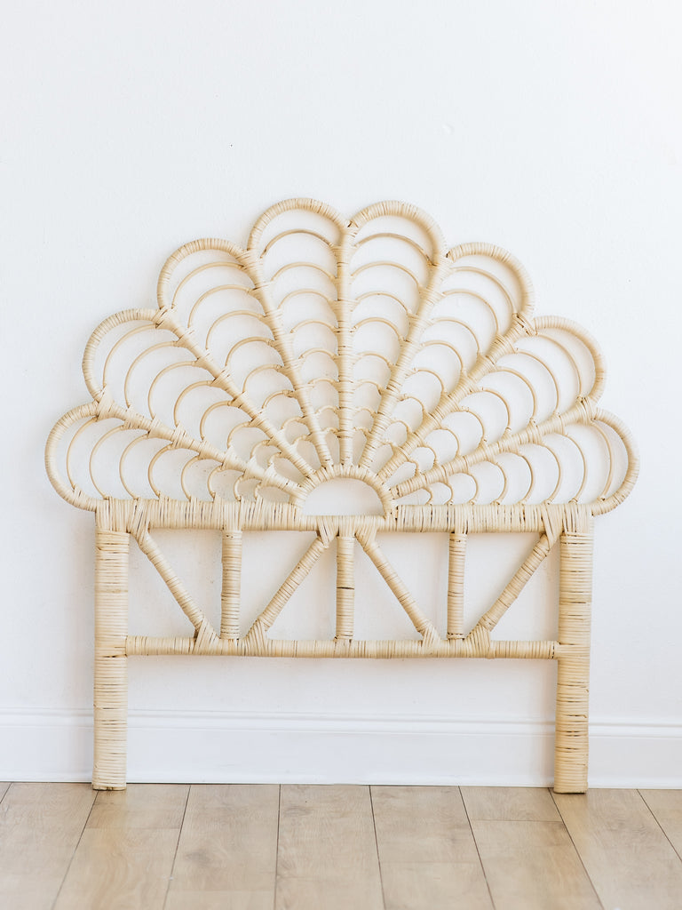 Maya Scalloped Rattan Headboard - Ellie & Becks Co.