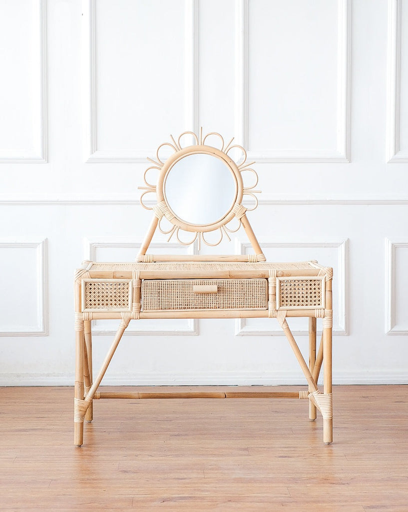 Kai Rattan Kids Vanity & Stool - Ellie & Becks Co.