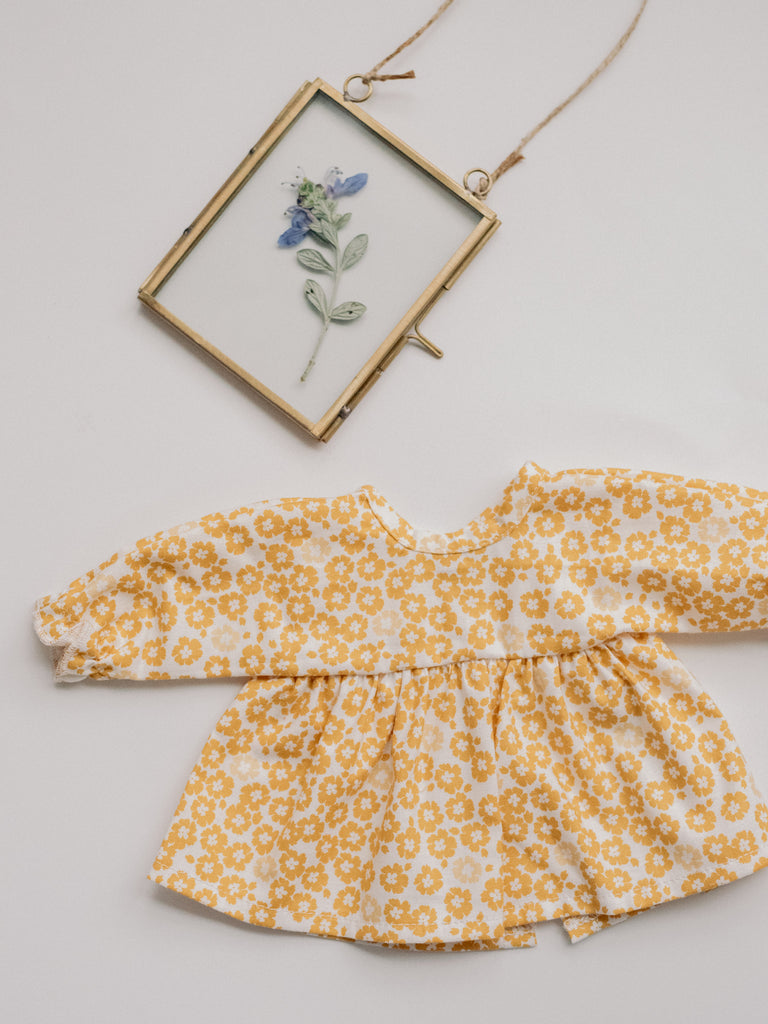 Yellow Floral Dress with Bell Sleeves - Ellie & Becks Co.