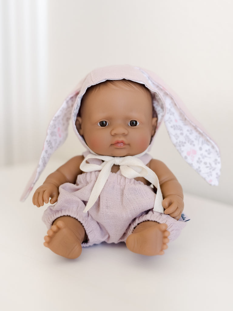 Pink Linen Romper & Bunny Hat for Newborn Dolls - Ellie & Becks Co.