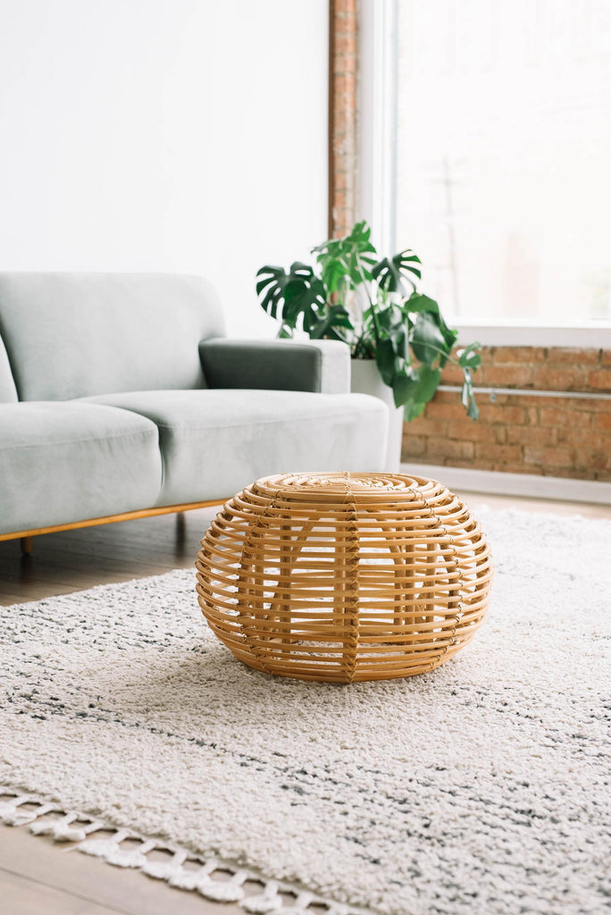 Rattan Stool Ottoman - Ellie & Becks Co.
