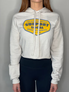Women's Cropped Support Local Hoodie