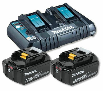 Makita DC18RD 18V Twin Charger + 2 x BL1850B 5.0Ah Batteries