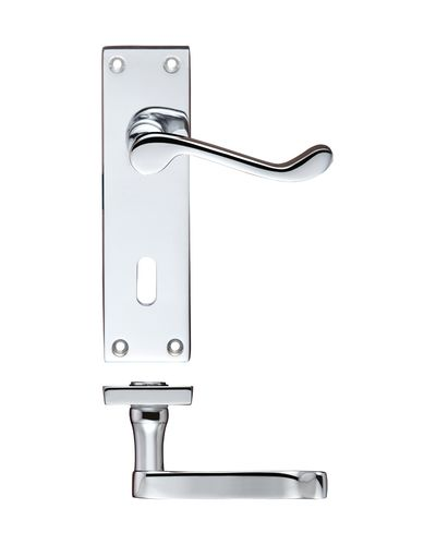 Zoo Hardware PR021CP Project Victorian Scroll Lever on Lock Backplate - 150mm x 40mm Polished Chrome