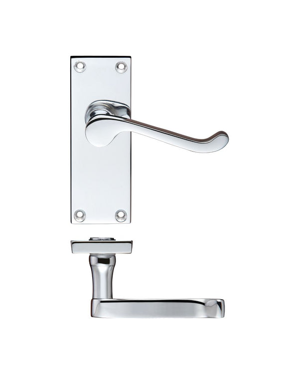 Zoo Hardware PR022CP Project Victorian Scroll Lever on Latch Backplate - 114mm x 40mm Polished Chrome